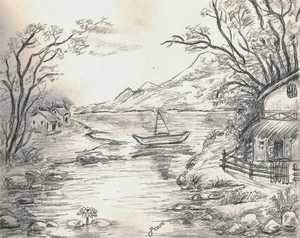 1000x795 Landscape Pencil Sketches Gallery Beautiful Landscape Pencil
