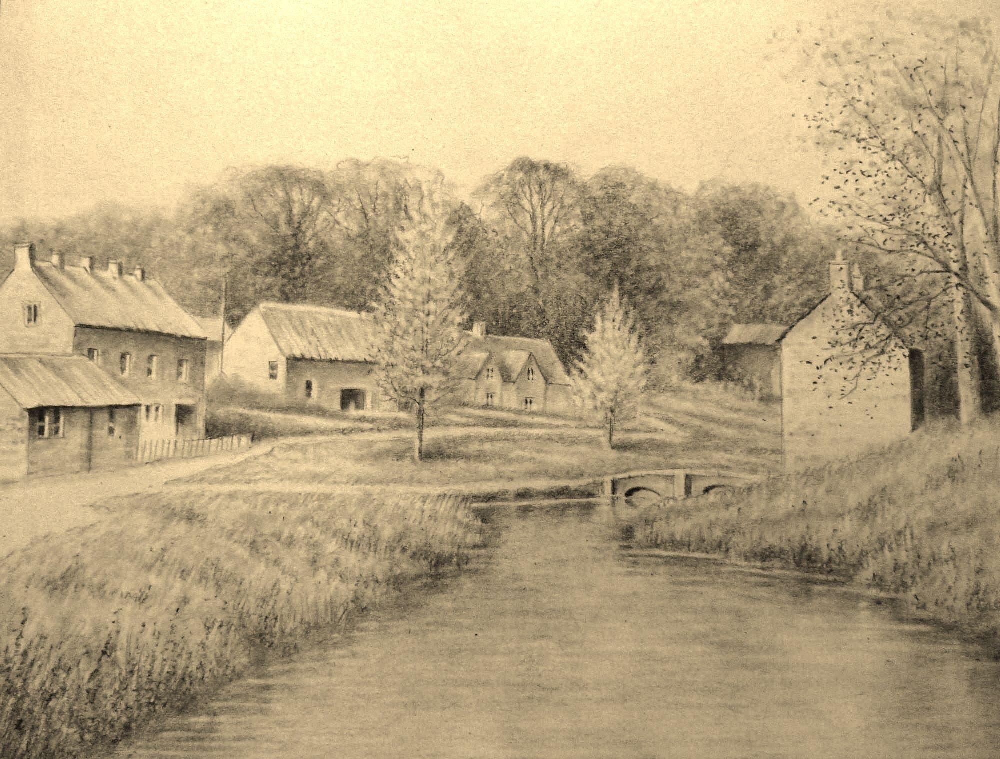 2001x1520 Landscape Pencil Drawing (Timelapse)