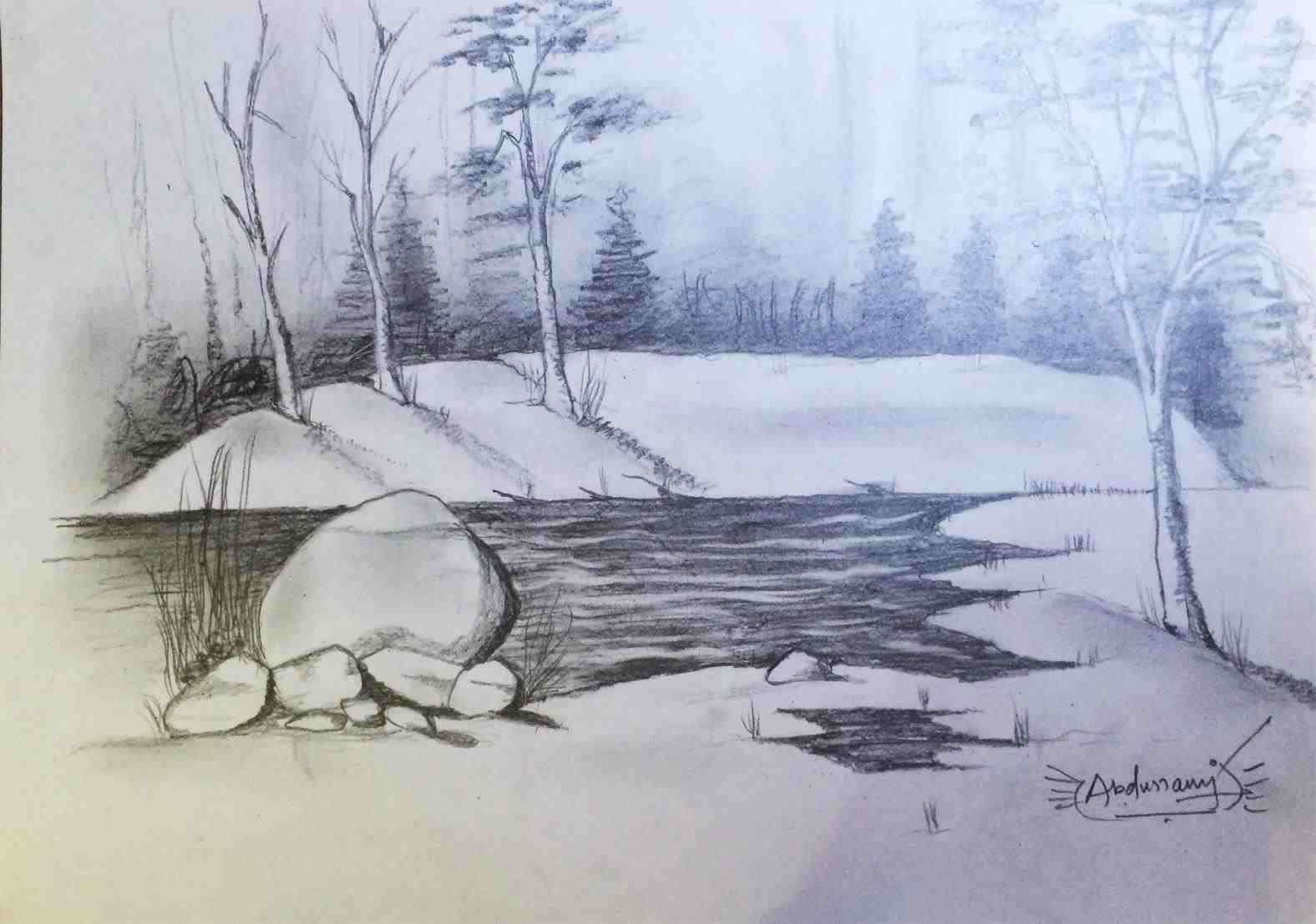 1576x1107 The Images Collection Of The Abstract Landscape Pencil Drawings