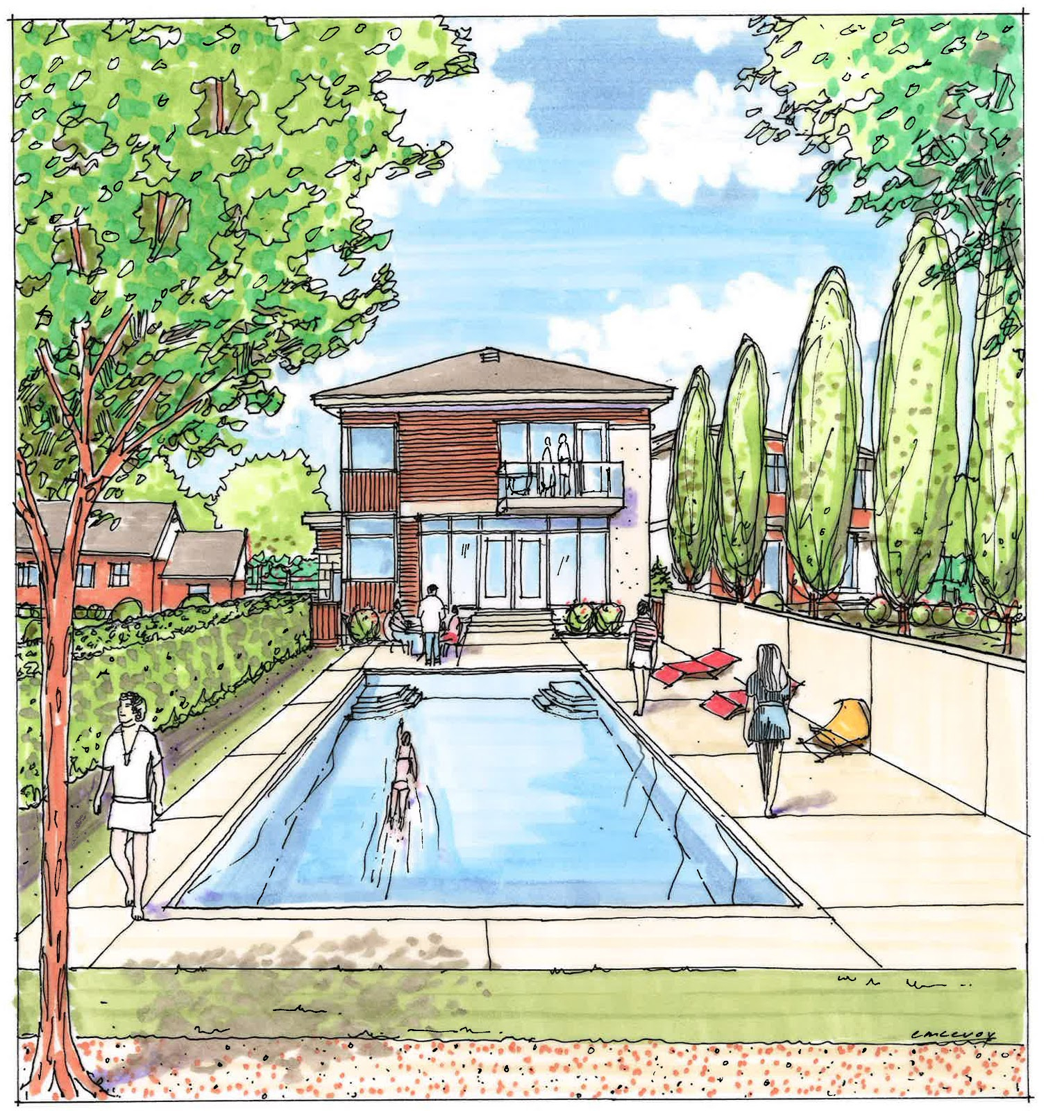 1504x1600 Perspective Drawing Landscape Landscaping Design Drawings
