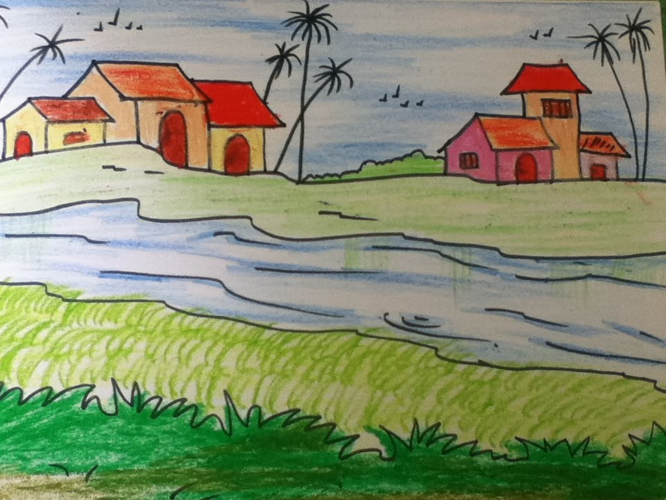 960x720 Beautiful Landscape Drawing For Kids In Simple Steps