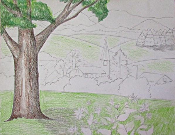 597x460 Color Pencil Landscape Drawing