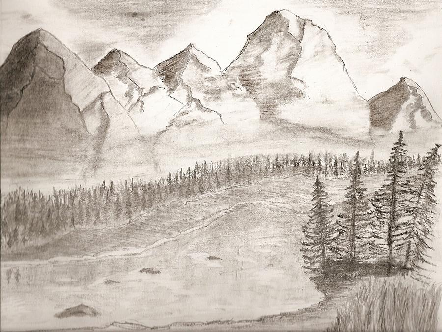 900x677 Mountain Landscape Drawing By Salomi Prakash