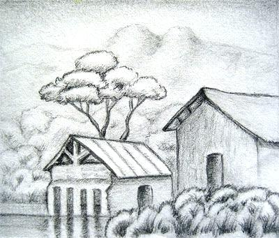 400x341 Drawings Of Landscapes Ink Realistic Landscape Drawing By Pencil