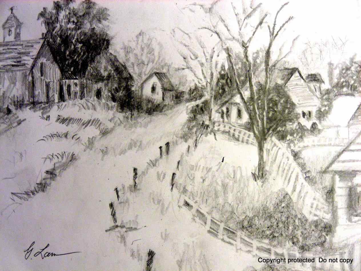1264x948 Riverside Landscapes Pencil Drawing Landscape Drawing Tutorial