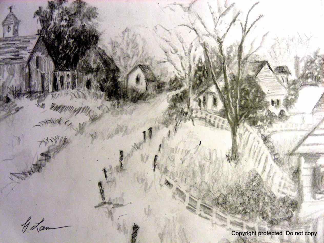 1264x948 Riverside Landscapes Pencil Drawing Landscape Drawing Tutorial