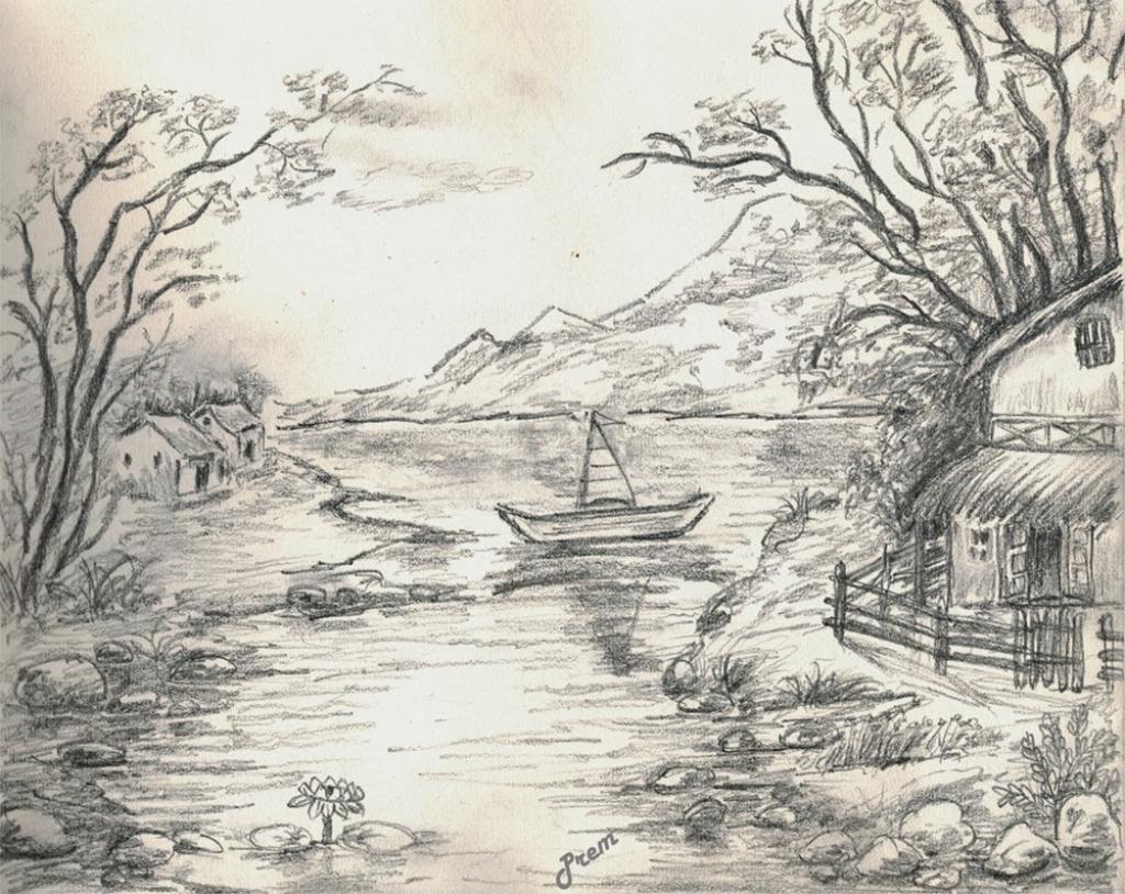 1024x814 sketch landscapes easy landscape drawings pencil easy pencil