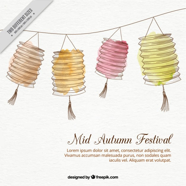 626x626 Hand Drawn Lanterns Decoration Background For Mid Autumn Festival