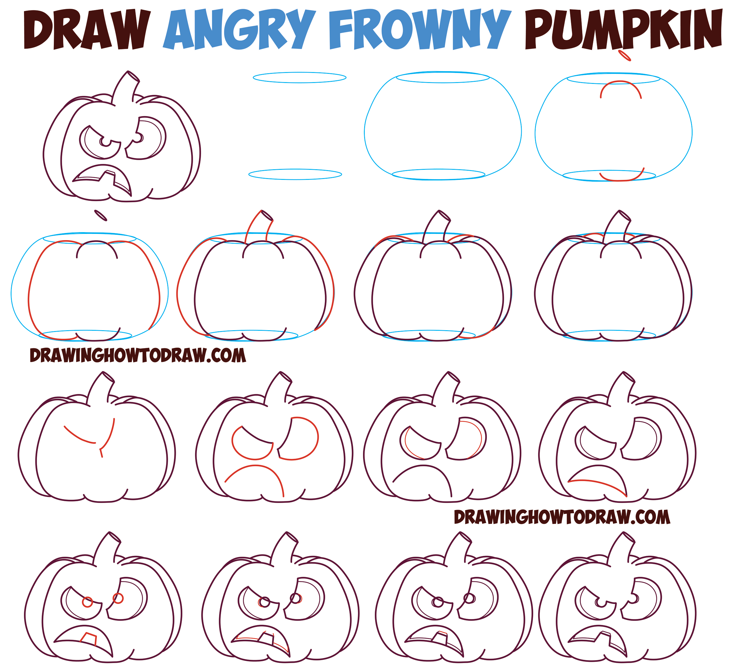 2500x2255 How To Draw Unhappy Frowning Pumpkin Faces Jack O'Lanterns