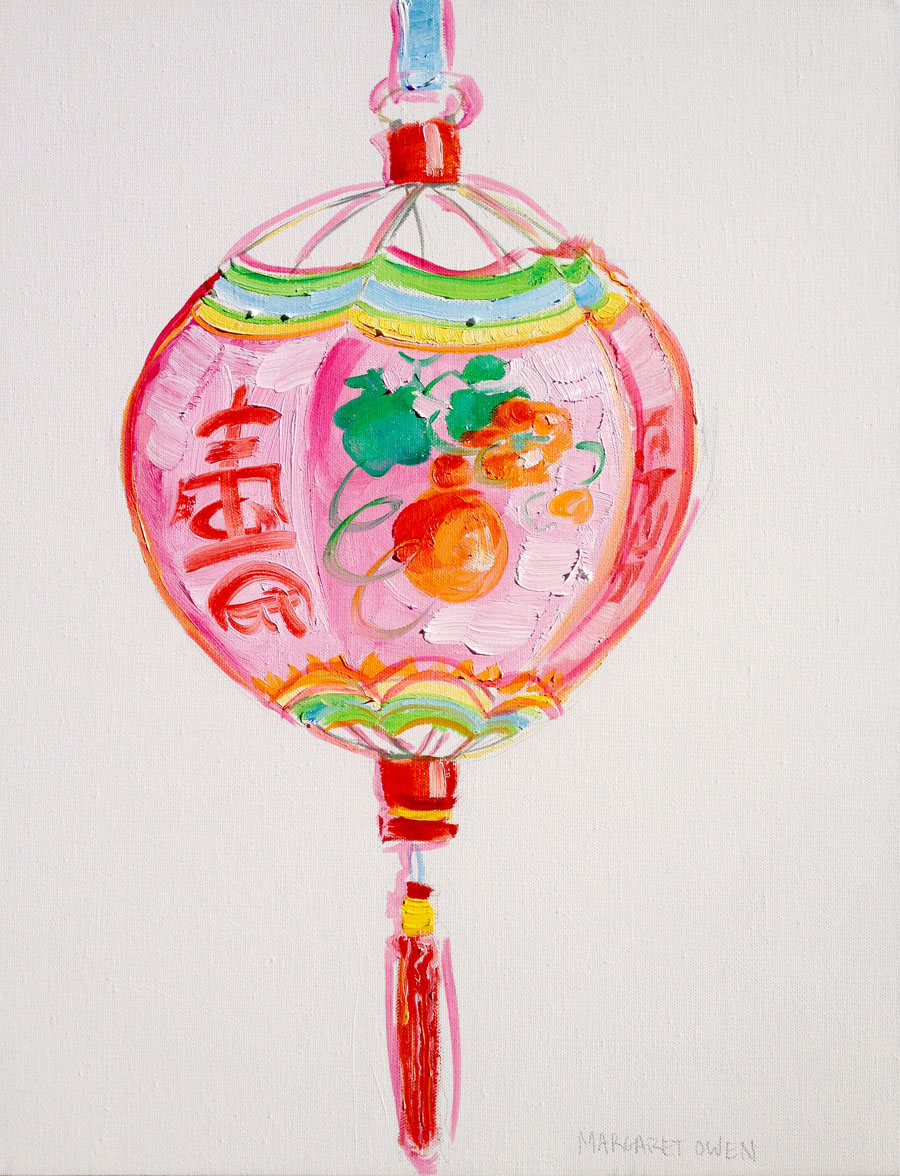 900x1176 Pink Chinese Lantern Painting By Margaret Owen {Paintings
