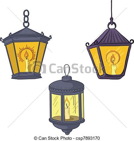 446x470 Vintage Street Lanterns. Set Vintage Street Luminescent Vector
