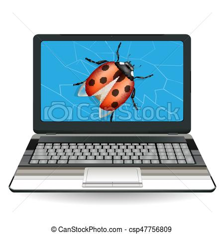 450x470 Broken Laptop Computer Destroy By A Bug Vector Clipart