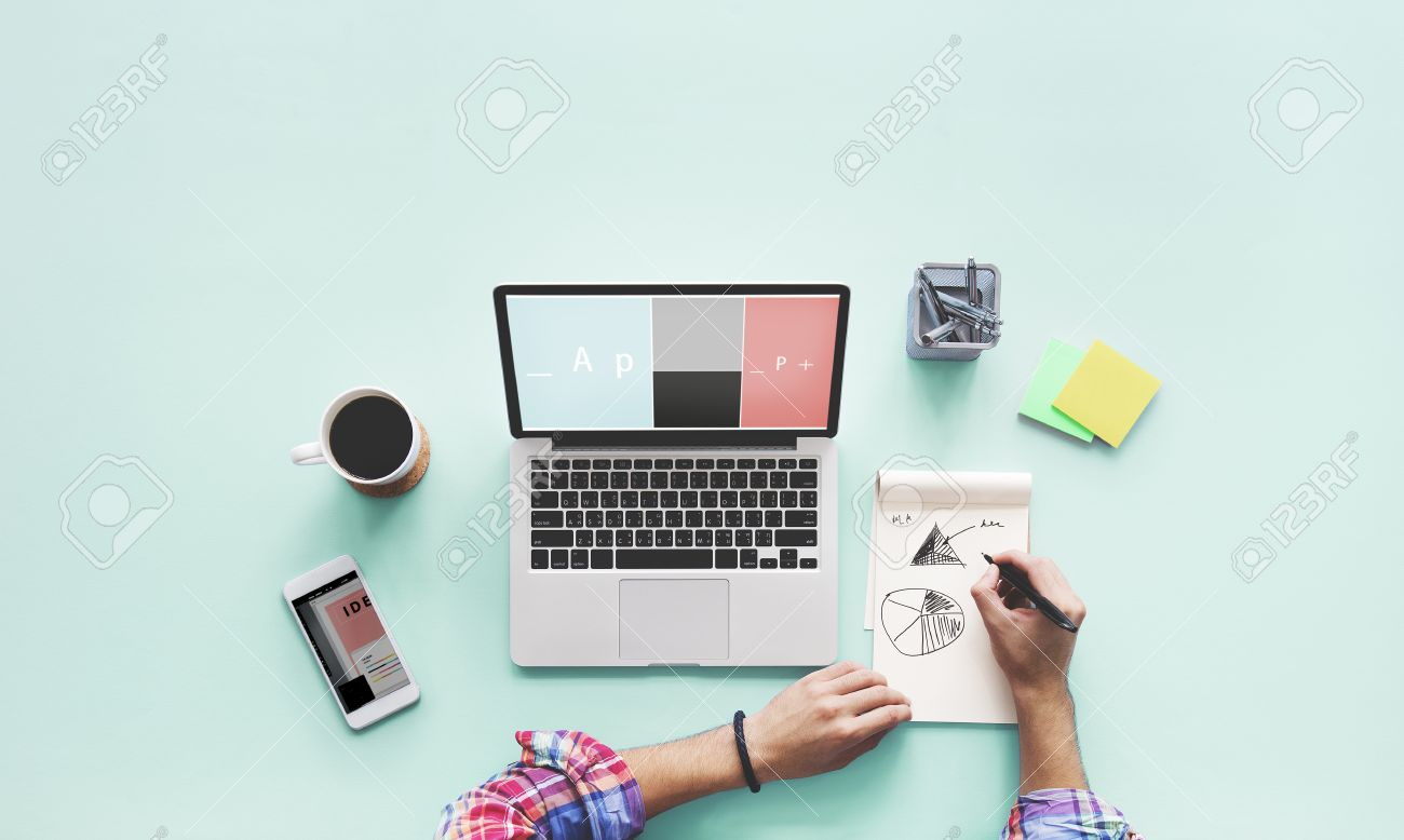 1300x778 Computer Laptop Drawing Working Desk Concept Stock Photo, Picture