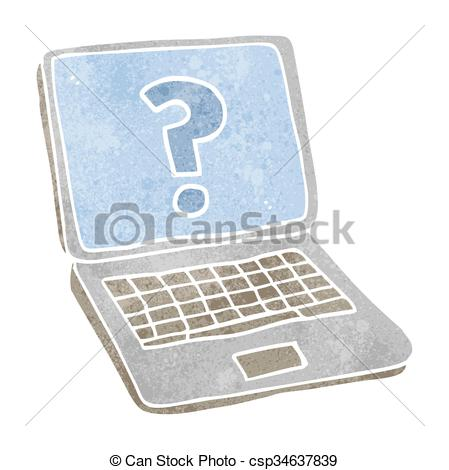449x470 Freehand Retro Cartoon Laptop Computer With Question Mark Vectors