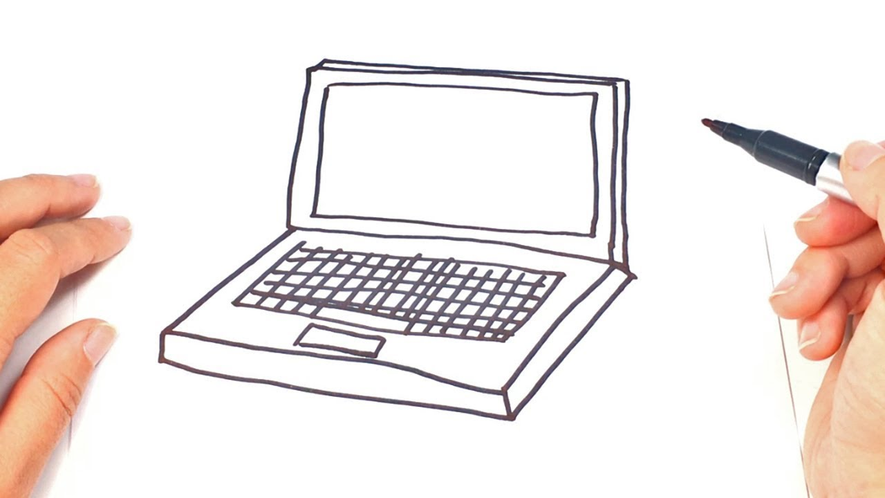 1280x720 How To Draw A Laptop Laptop Easy Draw Tutorial