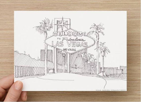 570x414 Ink Drawing Of Welcome To Fabulous Las Vegas Sign Nevada