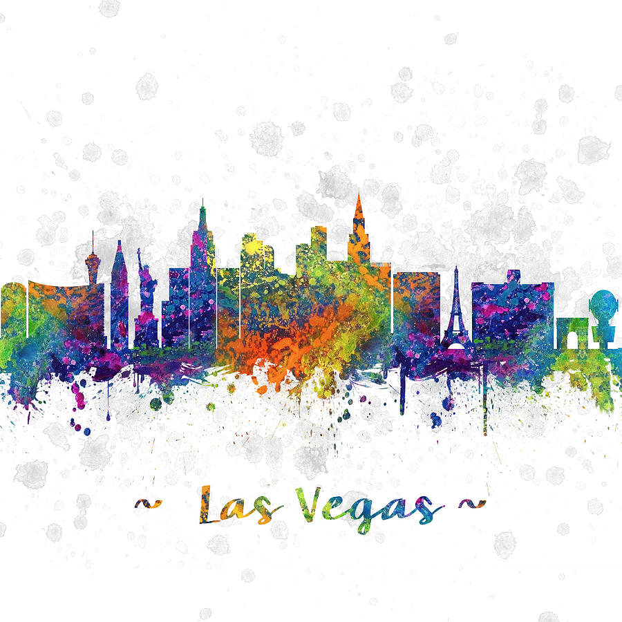 900x900 Las Vegas Nevada Skyline Color 03sq Digital Art By Aged Pixel