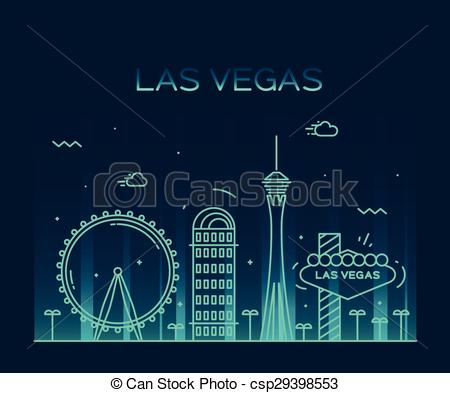 450x393 Las Vegas Skyline Vector Illustration Linear. Las Vegas Clipart
