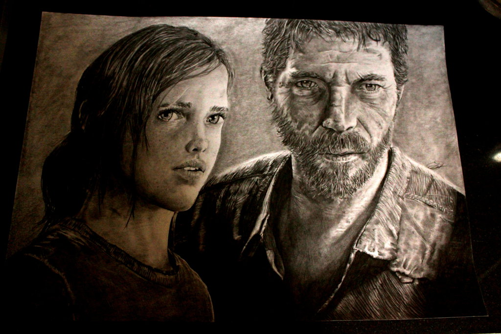 1024x683 The Last Of Us Drawing Joel And Ellie By Spiritofsouls