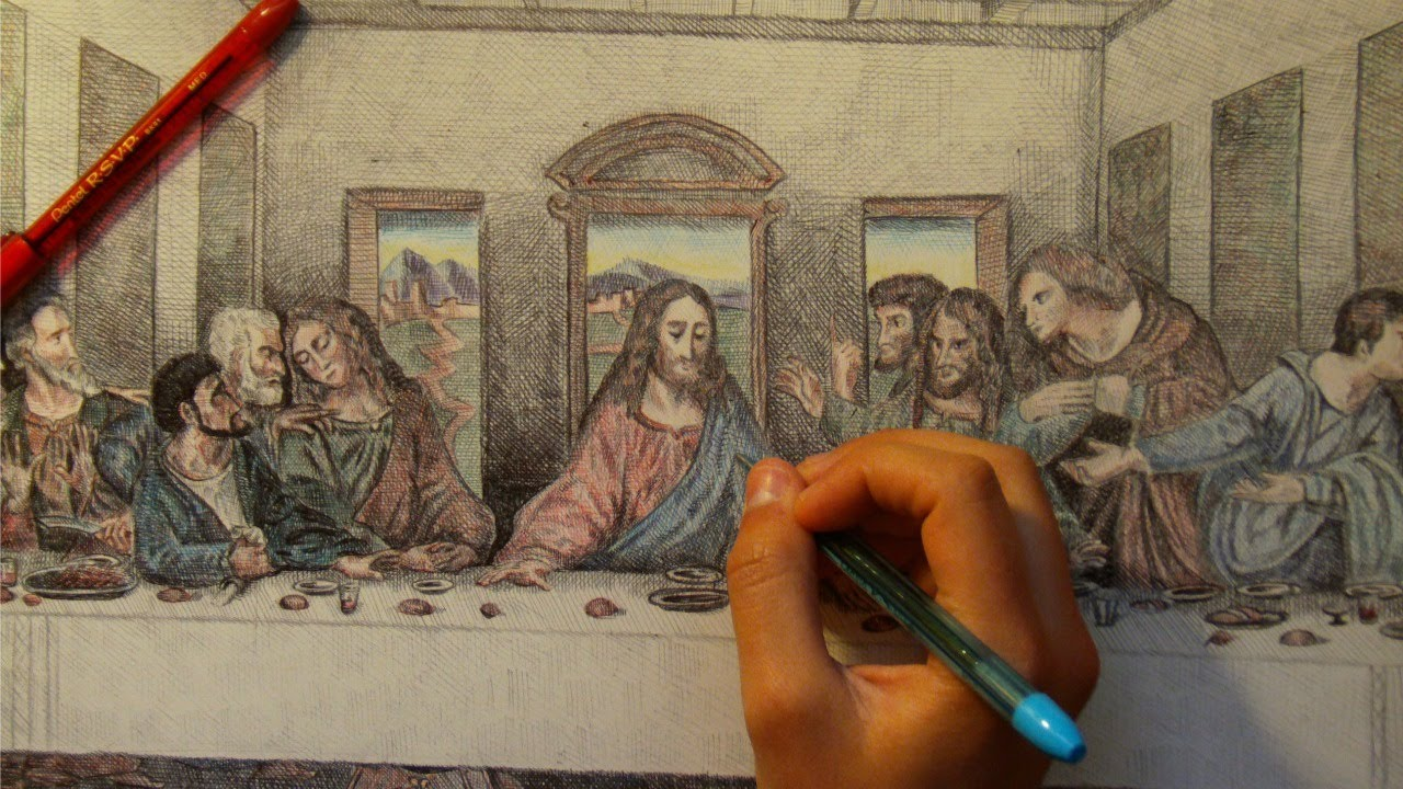 1280x720 Drawing The Last Supper Painting With Ballpoint Pen