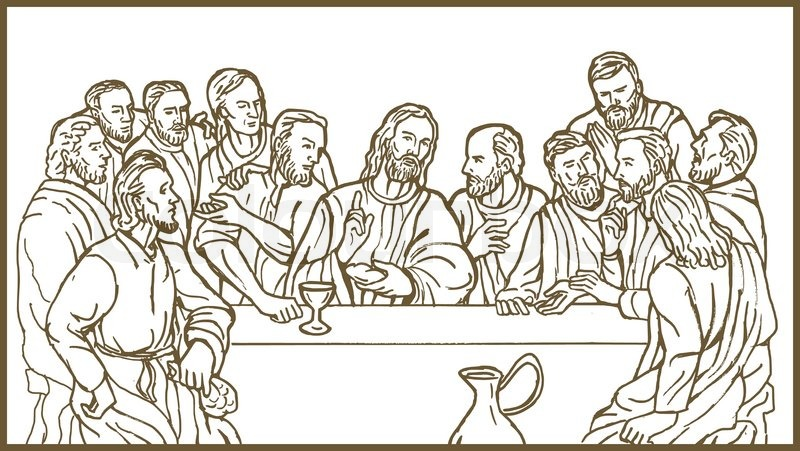 800x451 Jesus And Disciples Last Supper Stock Vector Colourbox