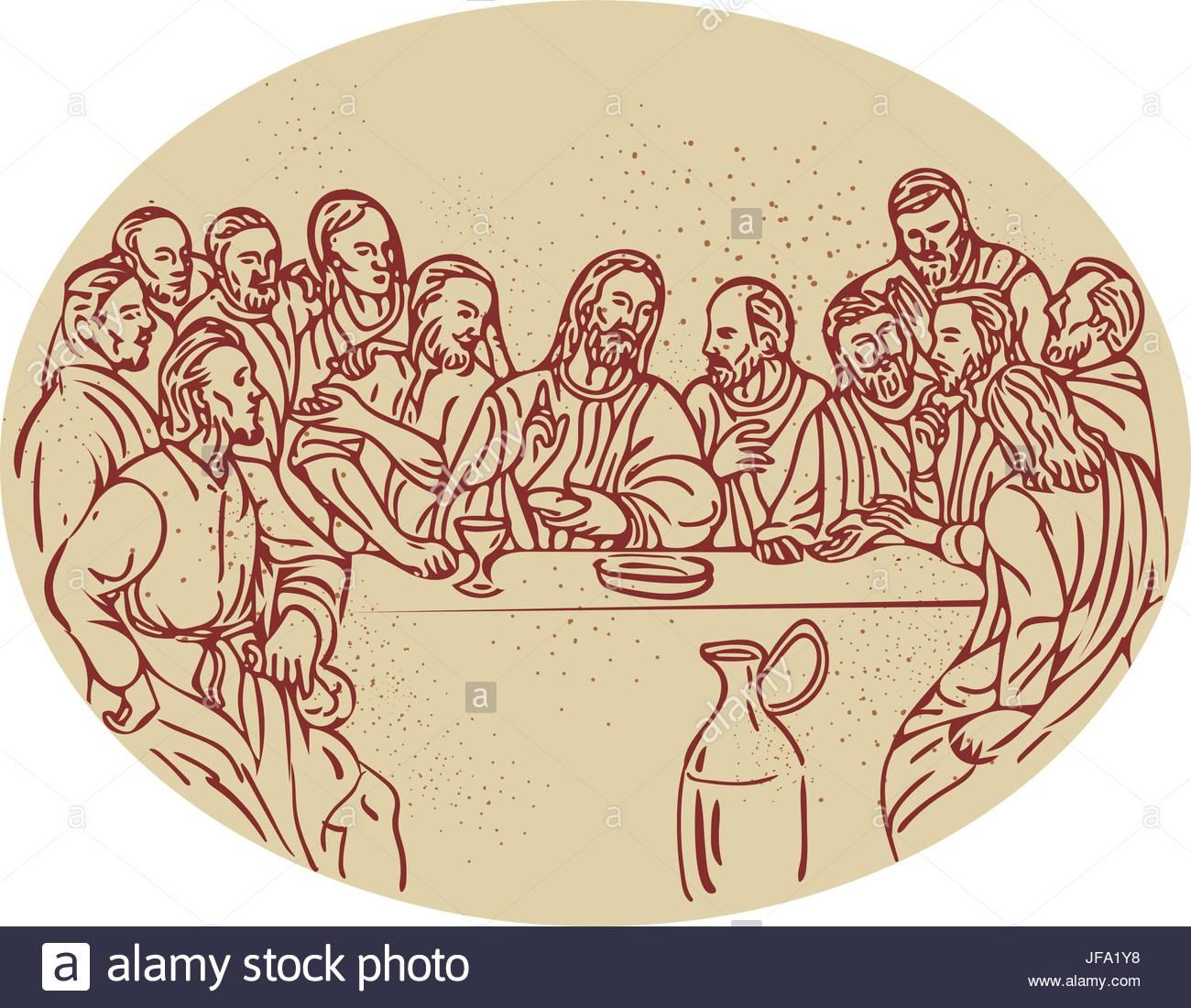 1300x1100 Last Supper Jesus Apostles Drawing Stock Vector Art Amp Illustration