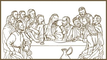 350x197 Royalty Free Clip Art Image Drawing Of The Last Supper