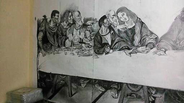 640x359 Wilson Omullo Artwork The Last Supper Original Drawing Charcoal