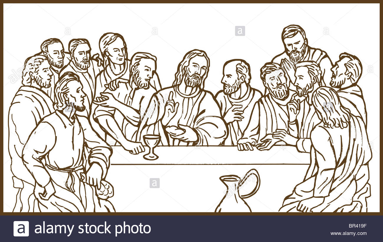 1300x822 Hand Drawing Sketch Illustration Of The Last Supper Of Jesus