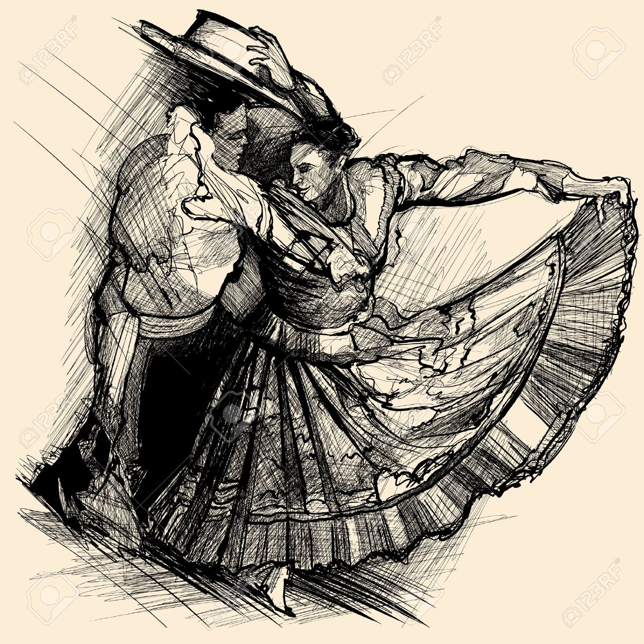 1300x1300 Illustration Of A Latino Dance Drawing Royalty Free Cliparts