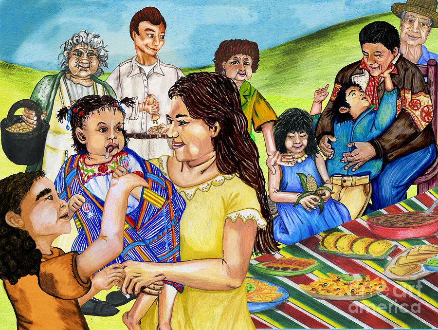 900x678 Latino Family Picnic Drawing By Laura Brightwood