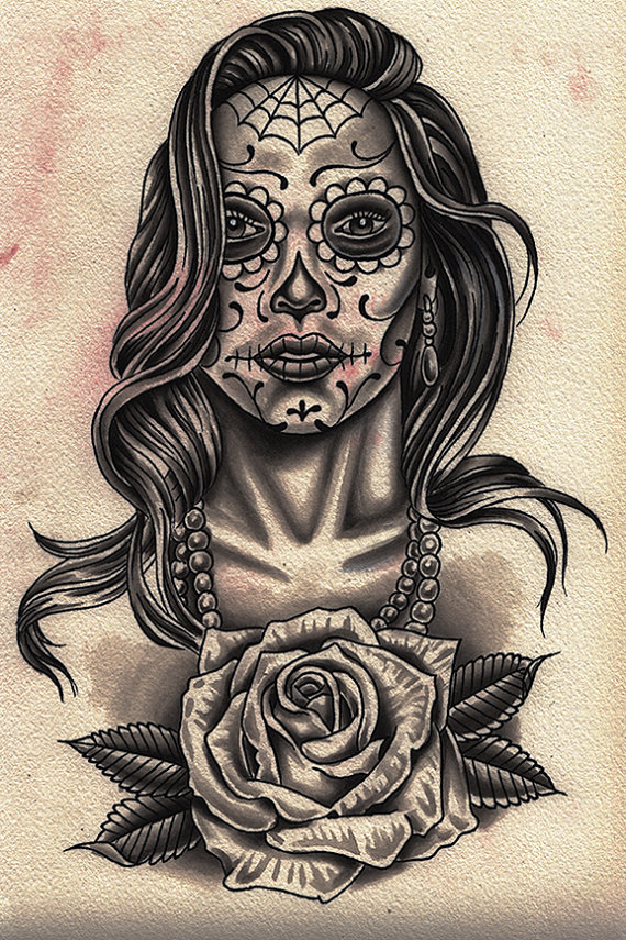 570x855 Latino Lowrider Art Tattoo Day Of The Dead Girl Chicano Black