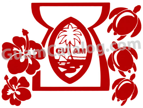 500x379 Guam Seal inside Latte Stone surrounded by Turtles and Hibiscus