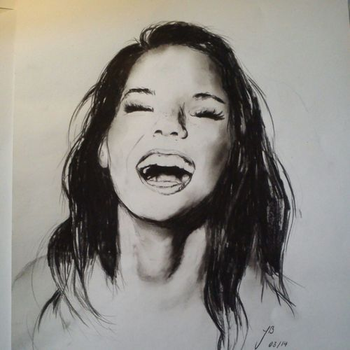500x500 Drawing ~ Girl Laughing Discovered By Johanna