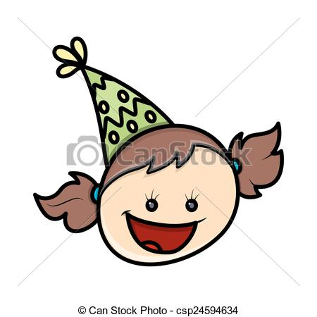 450x450 Laughing Kid Girl. Cartoon Funny Laughing Birthday Girl Vectors