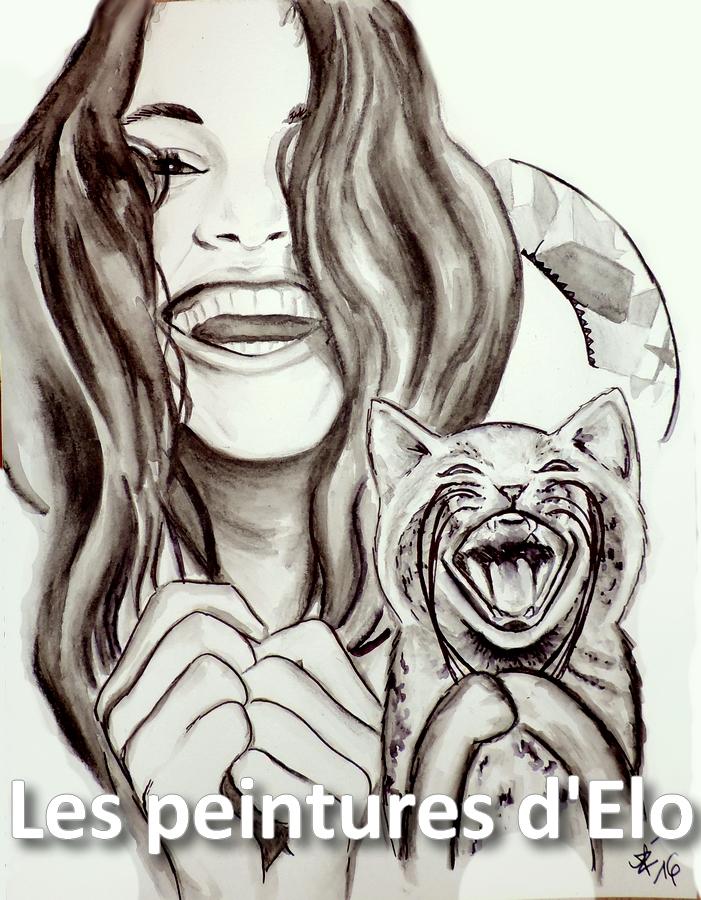 701x900 Lol Cat Woman Portrait Drawing Art Smile Laughing Joy Happiness
