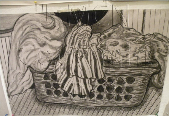 570x393 Items Similar To Laundry Basket Drawing In Charcoal