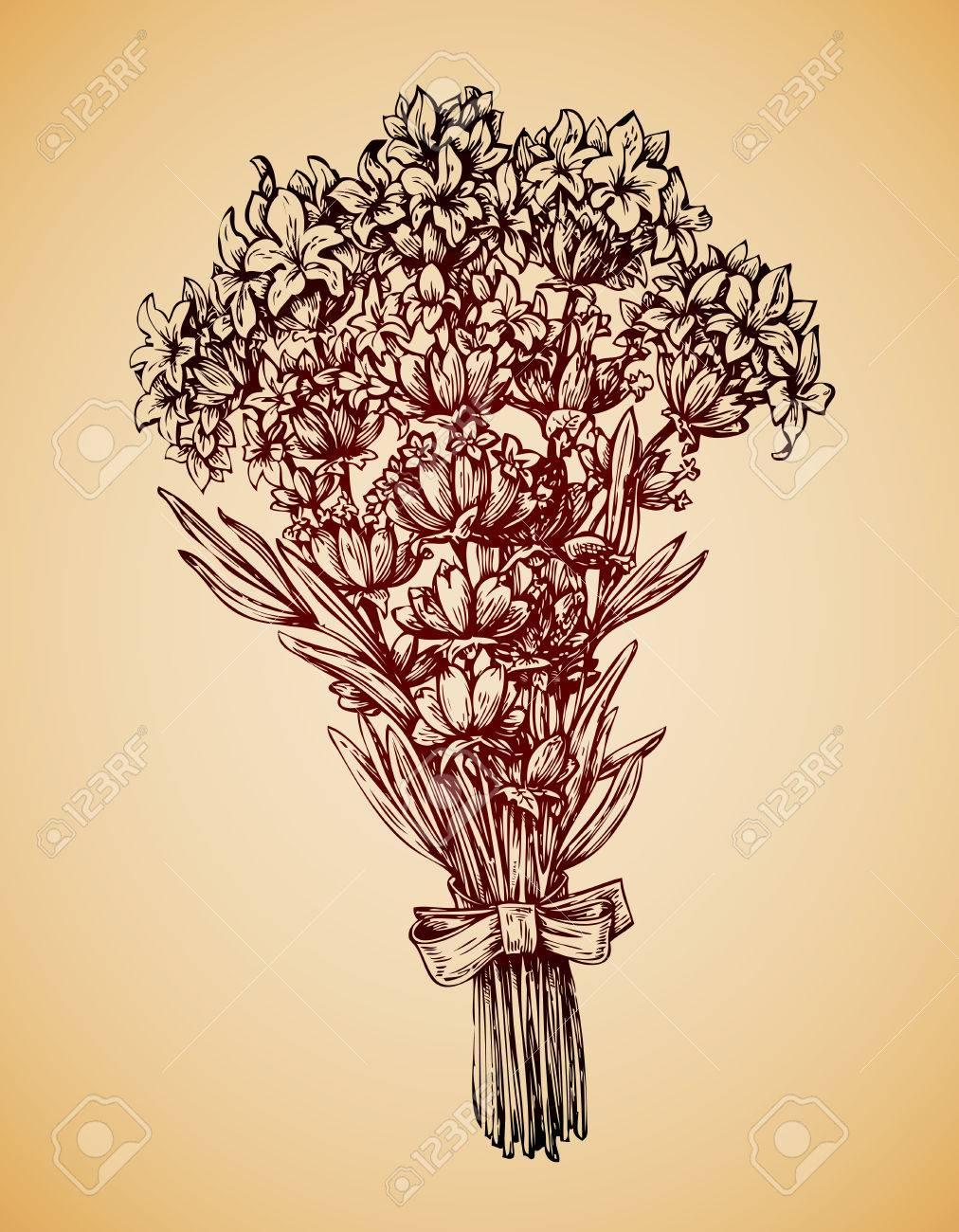 1012x1300 Vintage Bouquet Of Flowers. Hand Drawn Retro Sketch Lavender