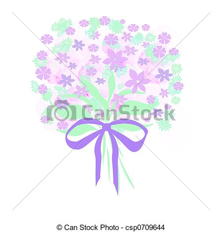 450x470 Colorful Lavender Flower Bouquet With Lavender Ribbon Drawing