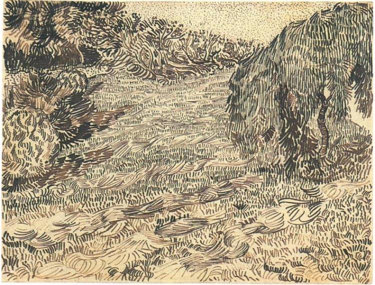 750x570 Newly Mowed Lawn With Weeping Tree By Vincent Van Gogh
