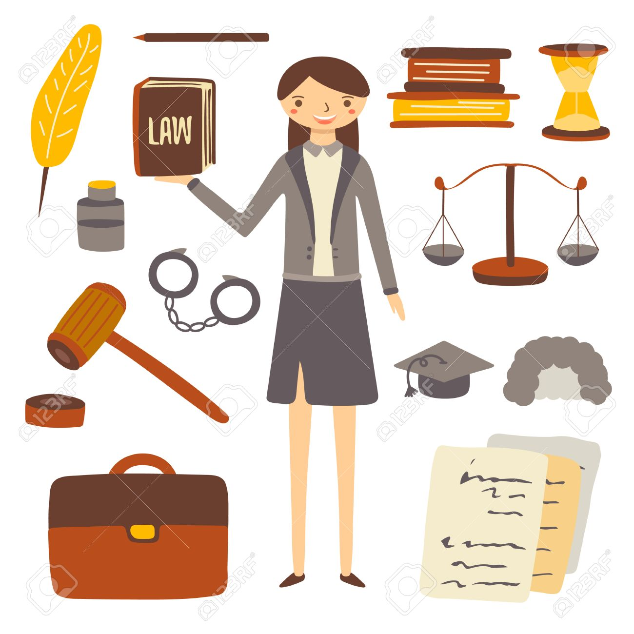 1300x1300 Hand Drawn Flat Style Woman Lawyer And Attorney Objects Collection