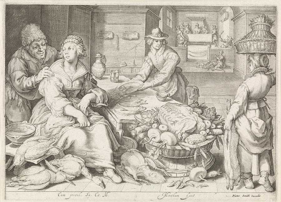 900x647 Kitchen Piece With Parable Of The Rich Man And Lazarus Drawing By