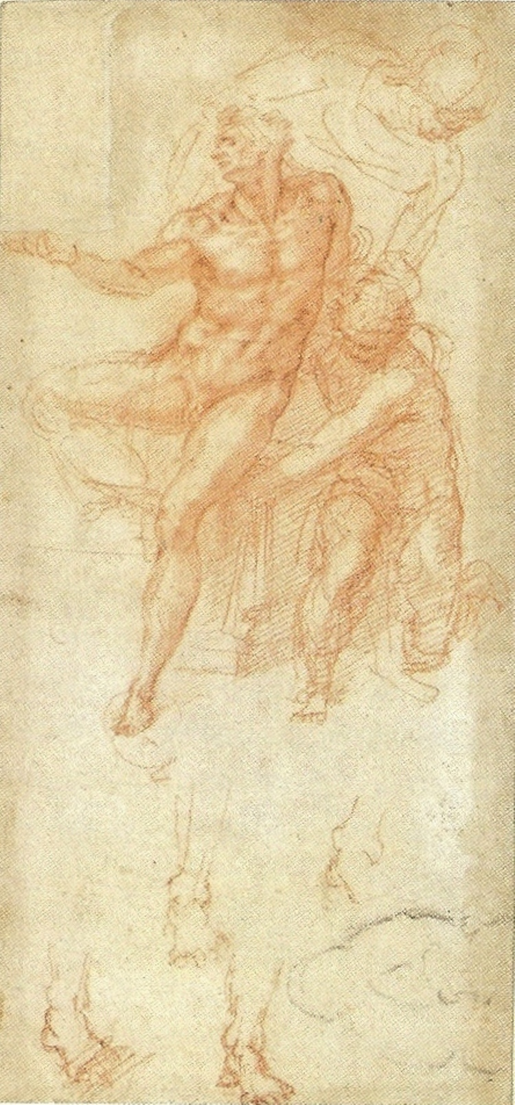 750x1609 Lazarus By Michelangelo, Drawing In Red And Black Chalk