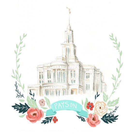 570x566 Payson Temple Watercolor, Flower Wreath Design, Printable Art