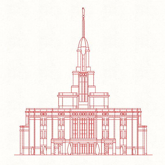 570x570 Payson Utah Lds Temple Redwork Embroidery Design Digital
