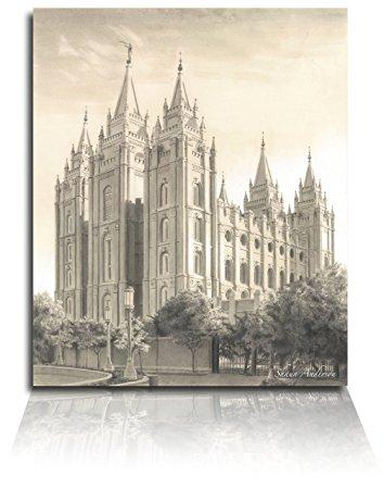 354x450 Lds Salt Lake City Utah Temple Drawing 8x10 Wall Art