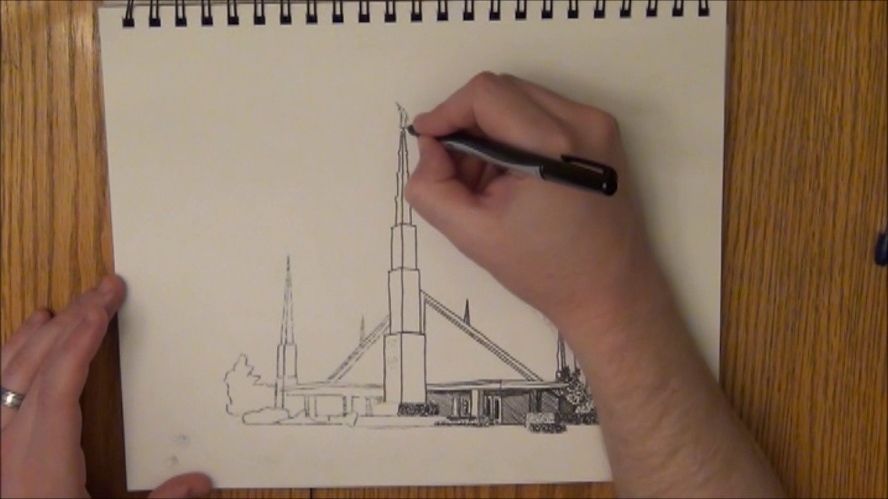 1280x720 Dallas Texas Lds Temple Ink Drawing Time Lapse