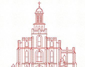 340x270 Logan Utah Lds Temple, Redwork Embroidery Design, Digital Instant