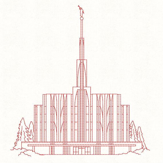 570x570 Seattle Washington Lds Temple Redwork Embroidery Design