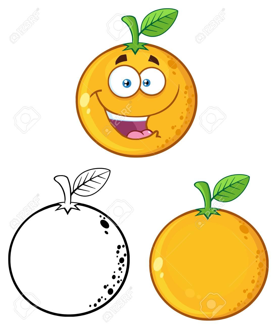 1096x1300 Orange Fresh Fruit With Green Leaf Cartoon Drawing 3. Set